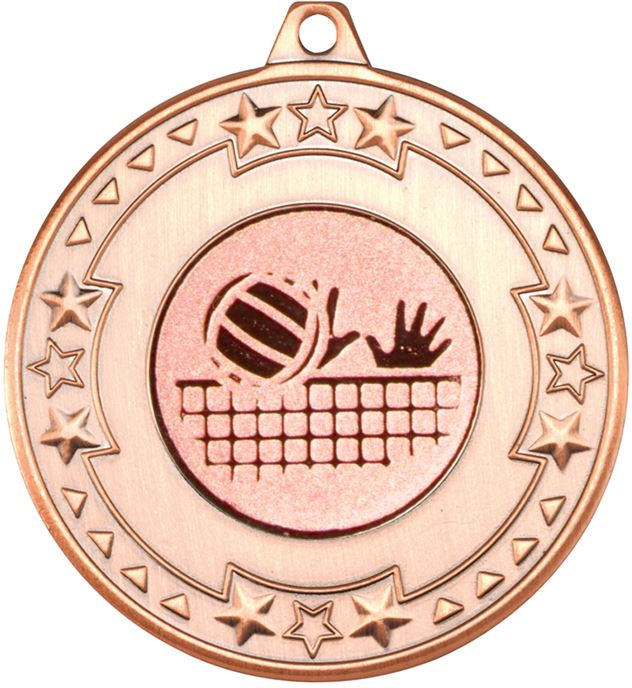 """Bronze Star & Pattern Medal with 1"""" Volleyball Centre Disc 50mm (2"""")"""