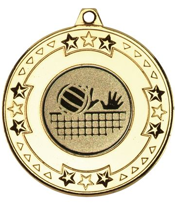 "Gold Star & Pattern Medal with 1"" Volleyball Centre Disc 50mm (2"")"