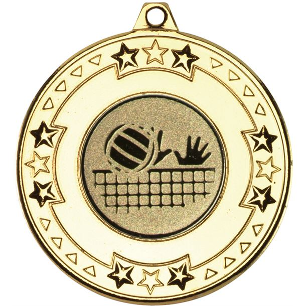 """Gold Star & Pattern Medal with 1"""" Volleyball Centre Disc 50mm (2"""")"""