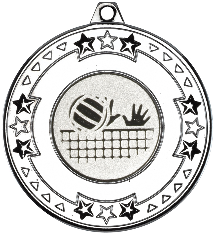 "Silver Star & Pattern Medal with 1"" Volleyball Centre Disc 50mm (2"")"
