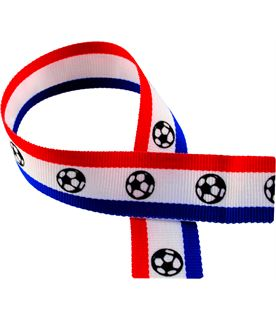 """Red, White, Blue Medal Ribbon with Footballs 76cm (30"""")"""