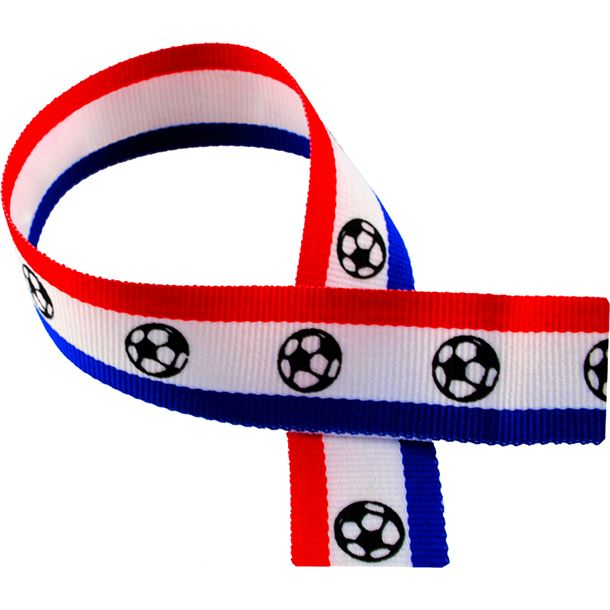 "Red, White, Blue Medal Ribbon with Footballs 80cm (32"")"