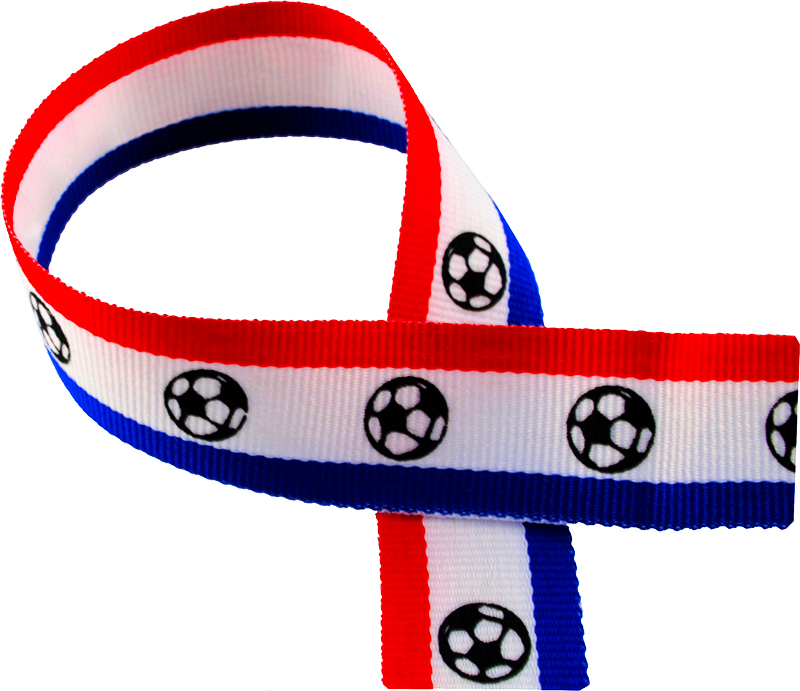 "Red, White, Blue Medal Ribbon with Footballs 76cm (30"")"