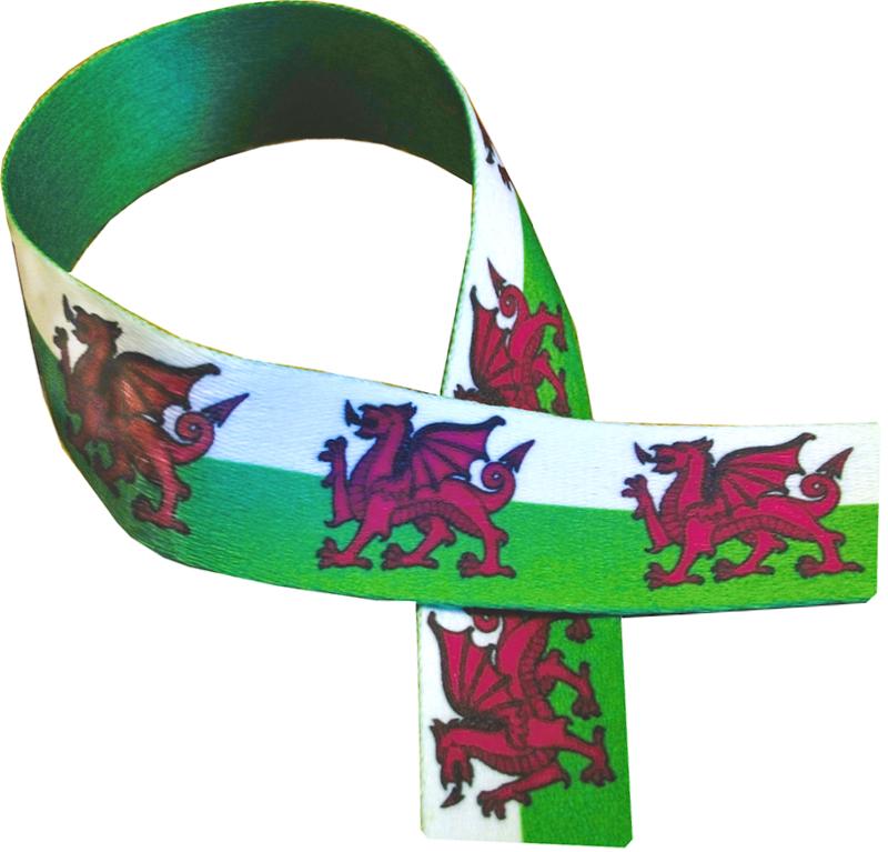 "Welsh Dragon Print Medal Ribbon 76cm (30"")"