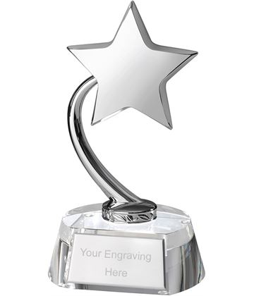 "Silver Metal Shooting Star on Optical Crystal Base 19cm (7.5"")"