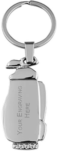 """Nickel Finish Golf Bag Keyring 11cm (4.25"""")"""