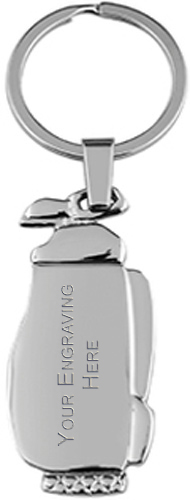"Nickel Finish Golf Bag Keyring 11cm (4.25"")"