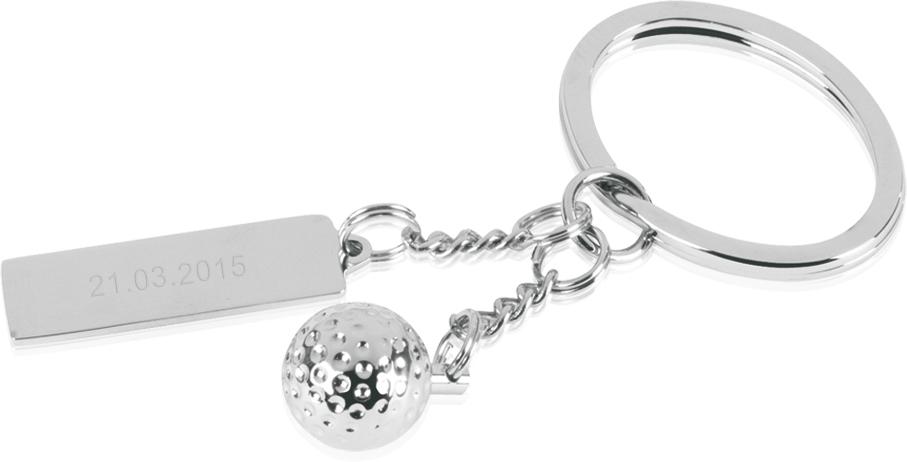 "Silver Metal Golf Ball Keyring with Engravable Tag 7.5cm (3"")"