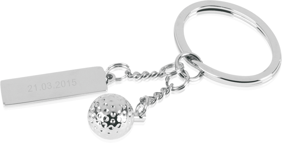 "Silver Metal Golf Ball Keyring with Engravable Tag 7.5cm (3"")"