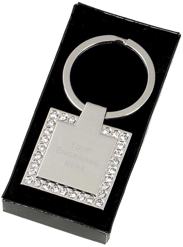 "Square Crown Keyring with a False Diamond Trim 3.3cm (1.2"")"