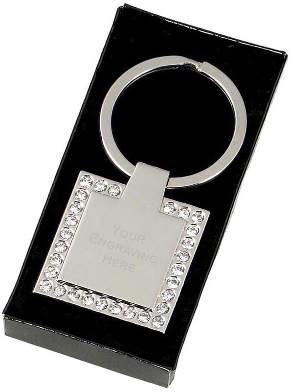 "Square Crown Keyring with a False Diamond Trim 3.3cm (1.2"")"