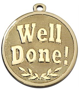 """Gold Galaxy Well Done Medal 45mm (1.75"""")"""