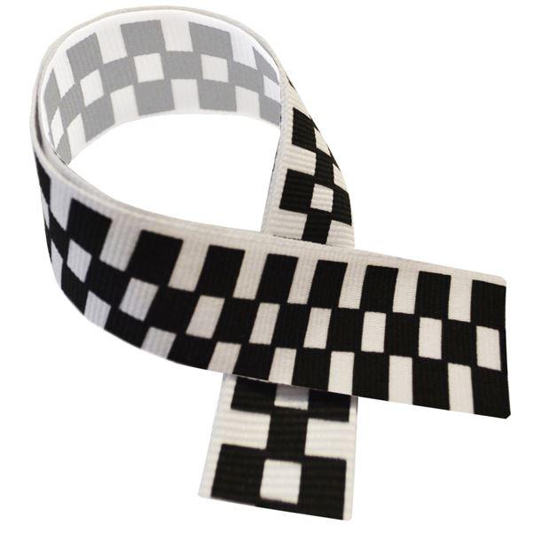 """Motor Sport Black & White Medal Ribbon 80cm (32"""")"""