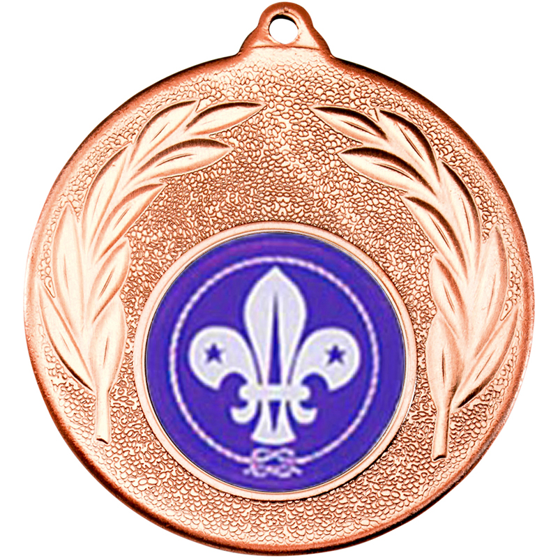 "Bronze Leaf Medal with 1"" Scouts Centre Disc 50mm (2"")"