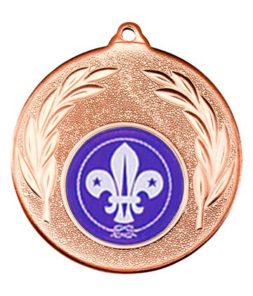 """Bronze Leaf Medal with 1"""" Scouts Centre Disc 50mm (2"""")"""