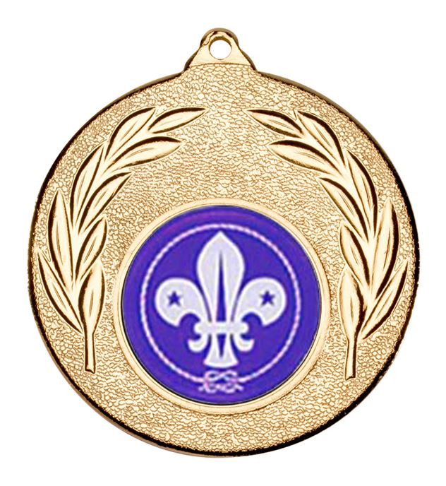 "Gold Leaf Medal with 1"" Scouts Centre Disc 50mm (2"")"
