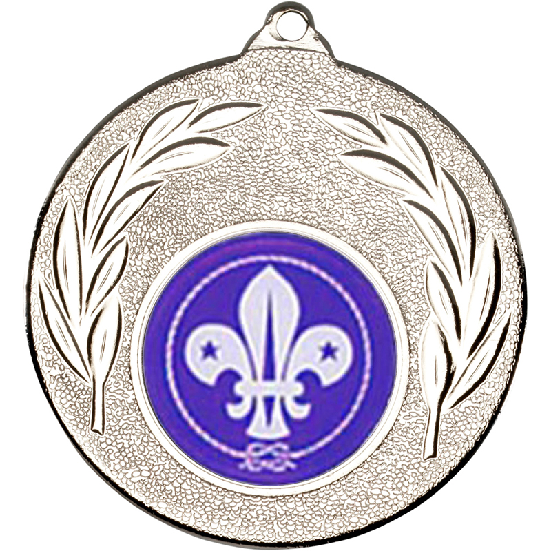 "Silver Leaf Medal with 1"" Scouts Centre Disc 50mm (2"")"