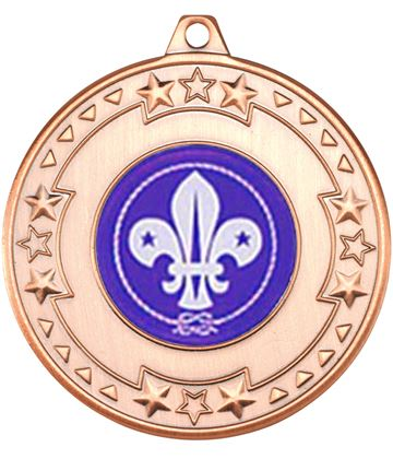 "Bronze Star & Pattern Medal with 1"" Scouts Centre Disc 50mm (2"")"