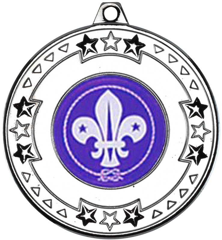 "Silver Star & Pattern Medal with 1"" Scouts Centre Disc 50mm (2"")"