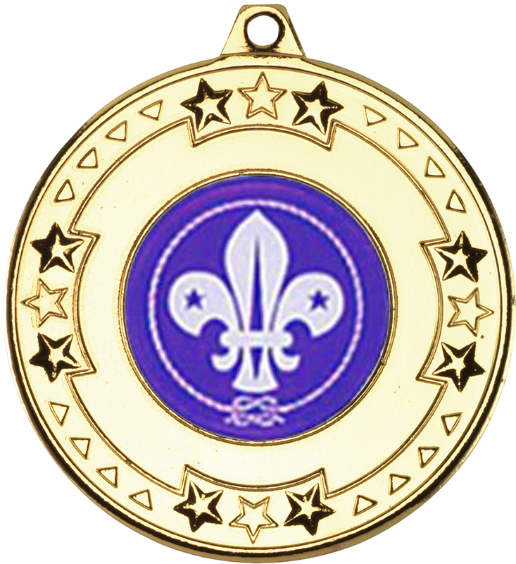 "Gold Star & Pattern Medal with 1"" Scouts Centre Disc 50mm (2"")"