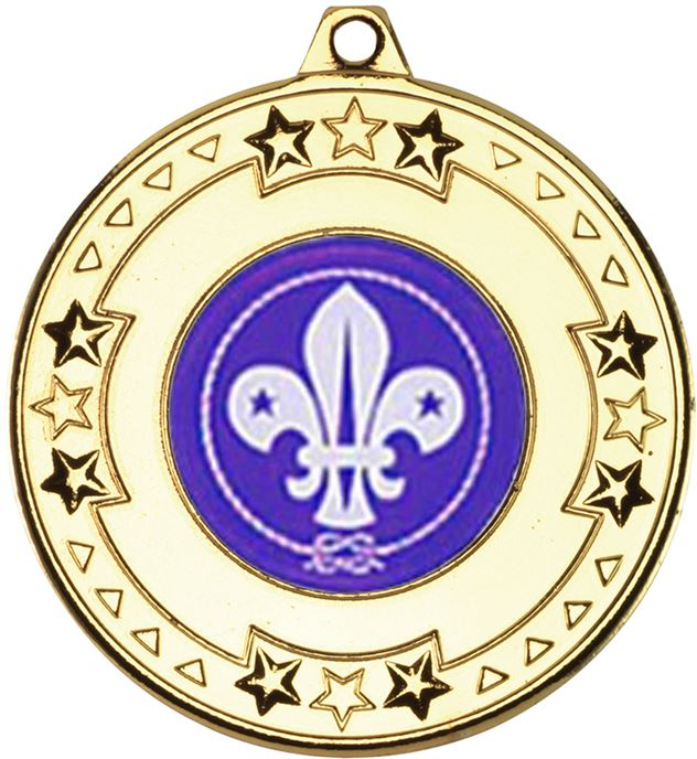 """Gold Star & Pattern Medal with 1"""" Scouts Centre Disc 50mm (2"""")"""