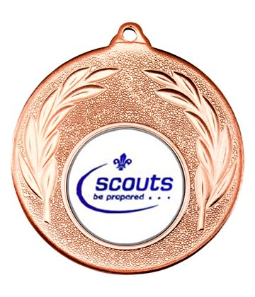 """Bronze Leaf Medal with 1"""" Scouts Be Prepared Centre Disc 50mm (2"""")"""