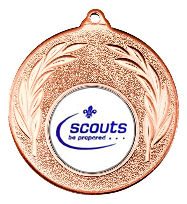 "Bronze Leaf Medal with 1"" Scouts Be Prepared Centre Disc 50mm (2"")"
