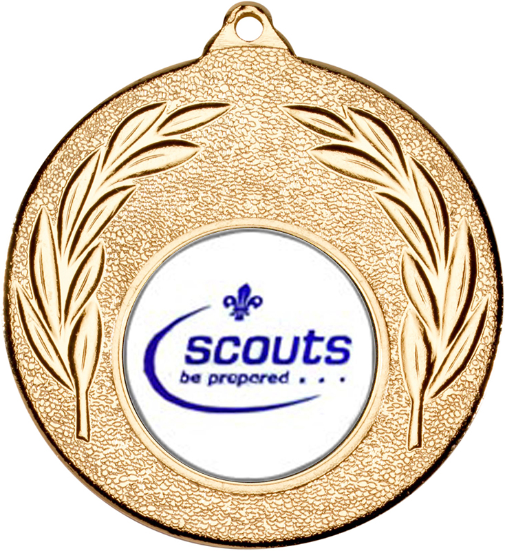 "Gold Leaf Medal with 1"" Scouts Be Prepared Centre Disc 50mm (2"")"