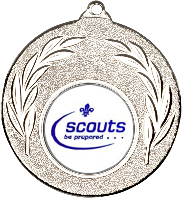 "Silver Leaf Medal with 1"" Scouts Be Prepared Centre Disc 50mm (2"")"