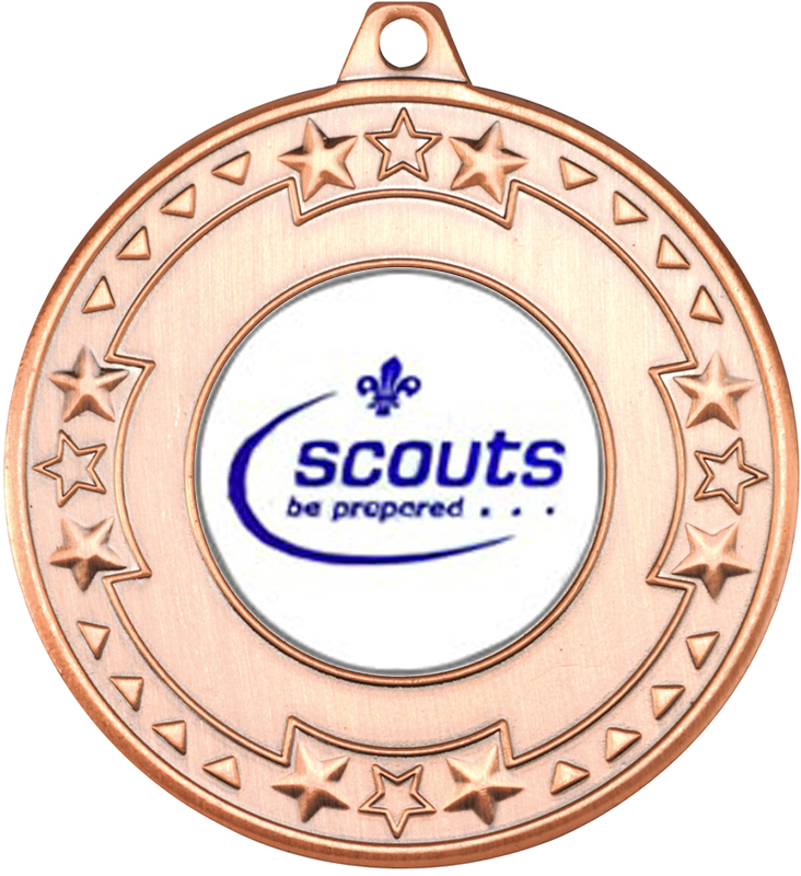 "Bronze Star & Pattern Medal with 1"" Scouts Be Prepared Centre Disc 50mm (2"")"