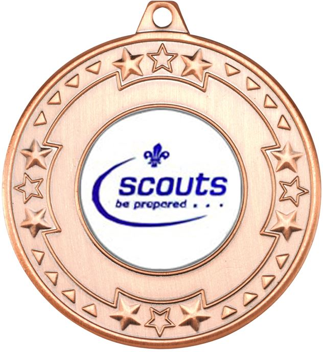 """Bronze Star & Pattern Medal with 1"""" Scouts Be Prepared Centre Disc 50mm (2"""")"""