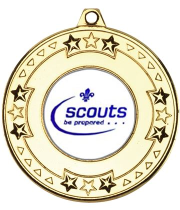 "Gold Star & Pattern Medal with 1"" Scouts Be Prepared Centre Disc 50mm (2"")"