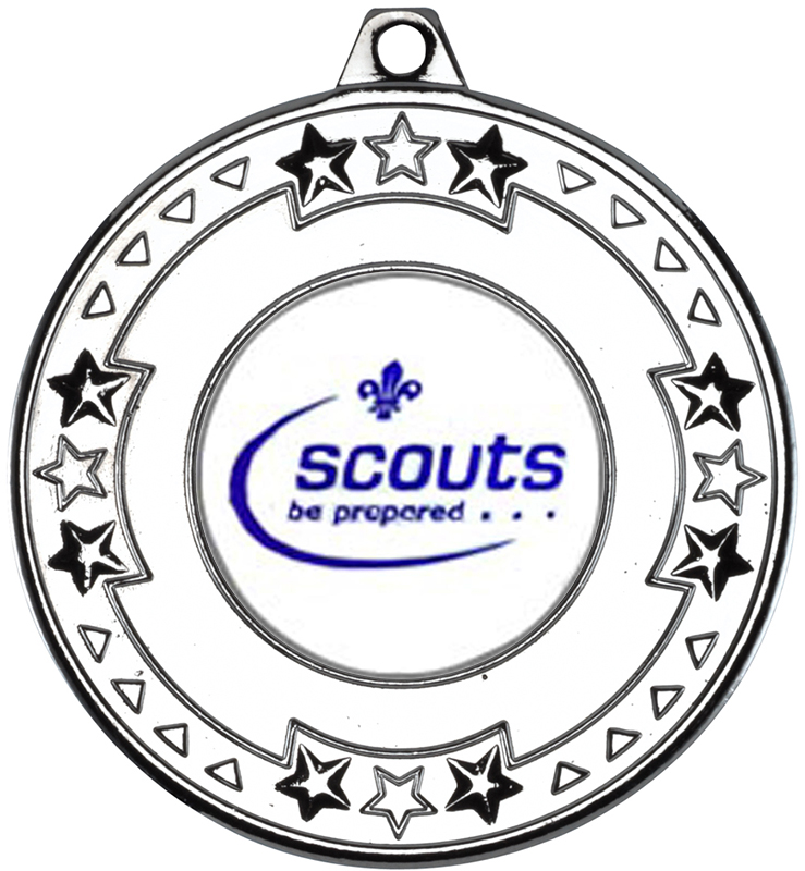 """Silver Star & Pattern Medal with 1"""" Scouts Centre Disc 50mm (2"""")"""