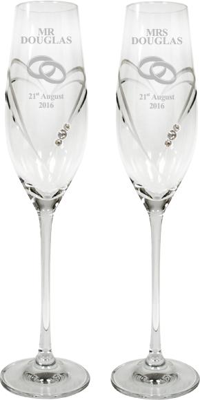 "Mr & Mrs Wedding/Anniversary Diamond Cut Champagne Flutes with Swarovski Crystals 26.5cm (10.5"")"