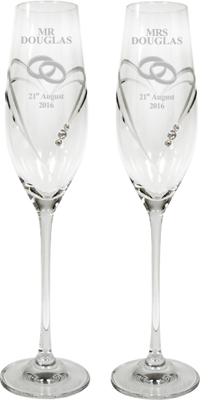 "Mr & Mrs Wedding/Anniversary Diamond Cut Champagne Flutes with Swarovski Crystals 26.5cm (10.5"")"