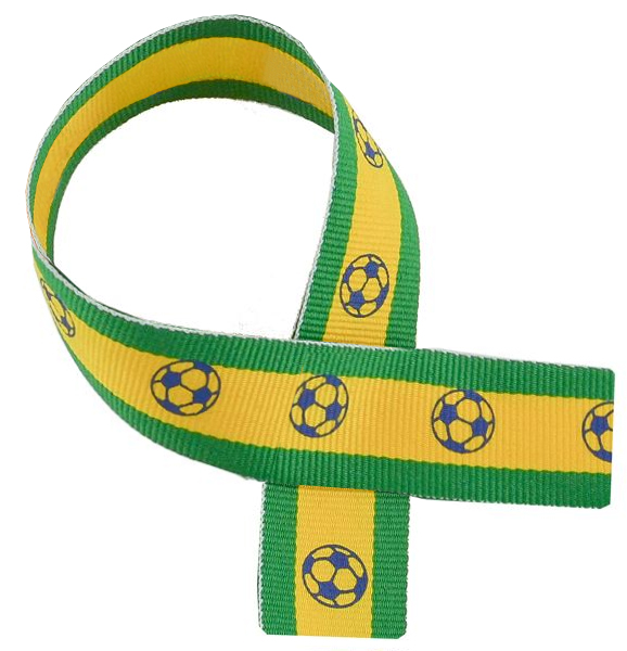 "Green, Yellow & Blue Medal Ribbon with Footballs 76cm (30"")"