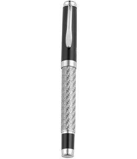 "Silver and Black Carbon Fibre Finish Roller Ball Pen 14cm (5.5"")"