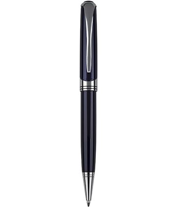 "Shiny Blue & Silver Thick Stem Ball Point Pen 14cm (5.5"")"