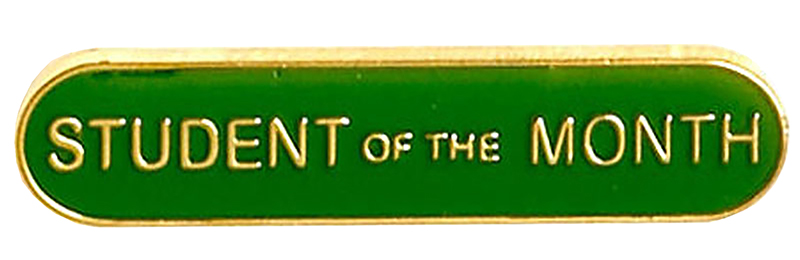 Student of the Month Lapel Bar Badge Green 40mm x 8mm