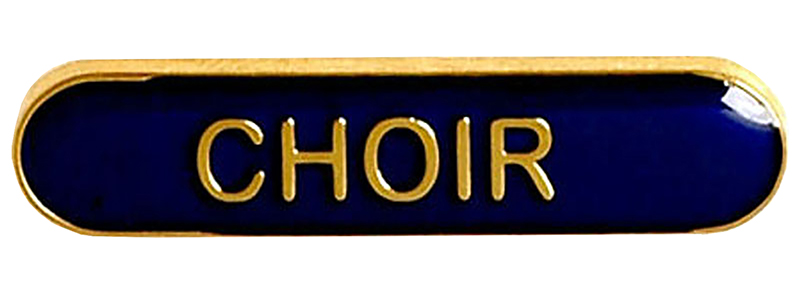 Choir Lapel Bar Badge Blue 40mm x 8mm