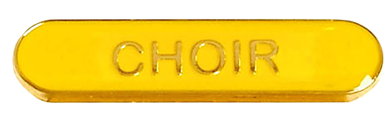 Choir Lapel Bar Badge Yellow 40mm x 8mm