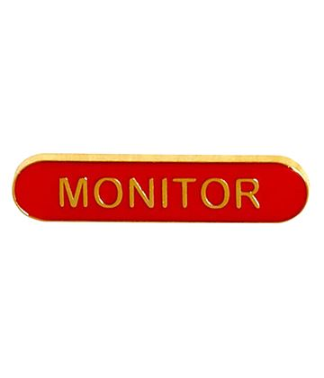 Monitor Lapel Bar Badge Red 40mm x 8mm