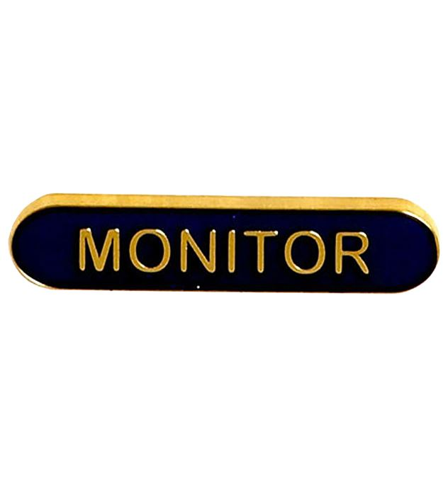 Monitor Lapel Bar Badge Blue 40mm x 8mm