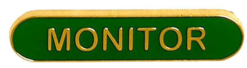 Monitor Lapel Bar Badge Green 40mm x 8mm