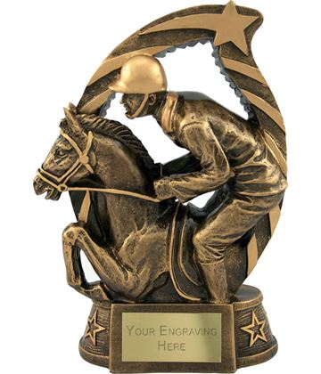 "Antique Gold Star Trim Horse & Jockey Trophy 19cm (7.5"")"