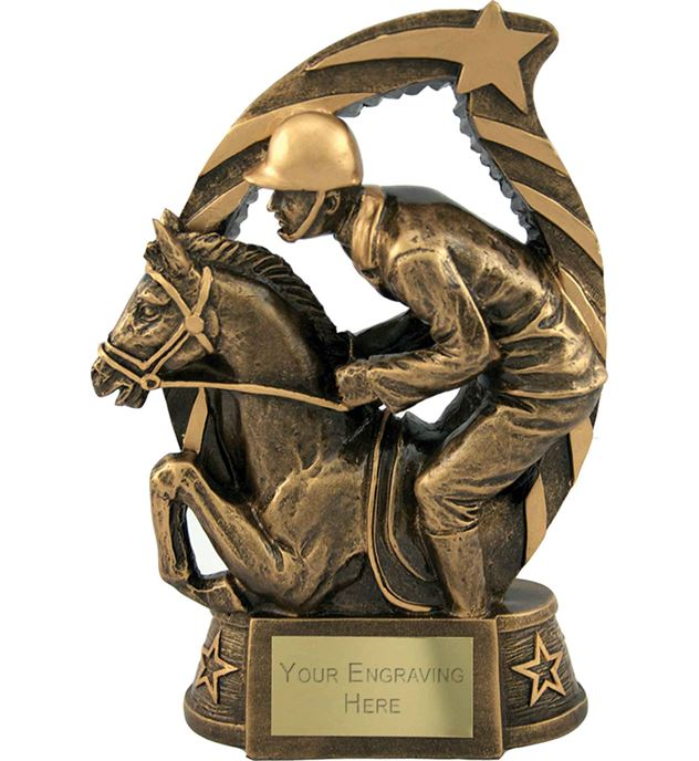 "Antique Gold Star Trim Horse & Jockey Trophy 19cm (7.5"")"