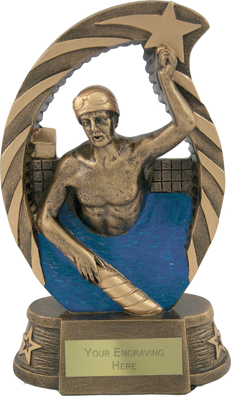 "Antique Gold Star Trim Male Swimmer Trophy 17cm (6.5"")"