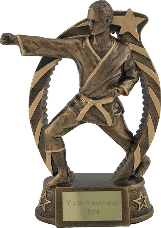 """Antique Gold Star Trim Martial Arts Trophy 19cm (7.5"""")"""