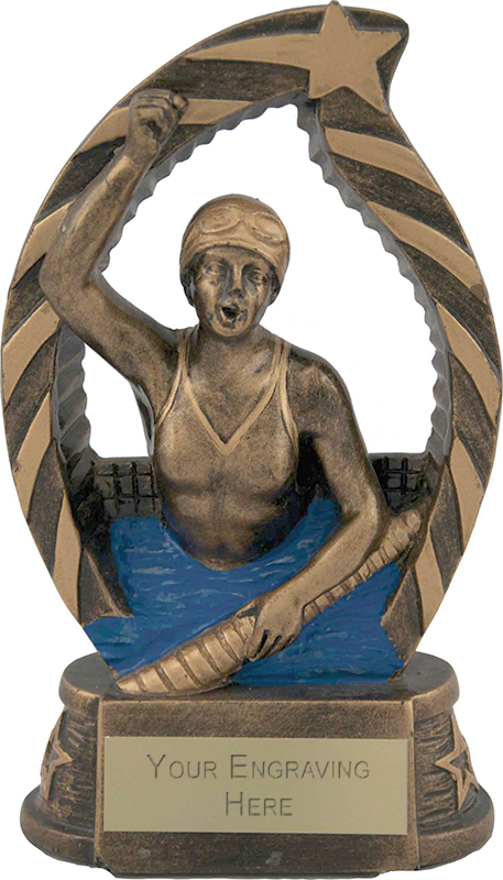 "Antique Gold Star Trim Female Swimmer Trophy 14cm (5.5"")"