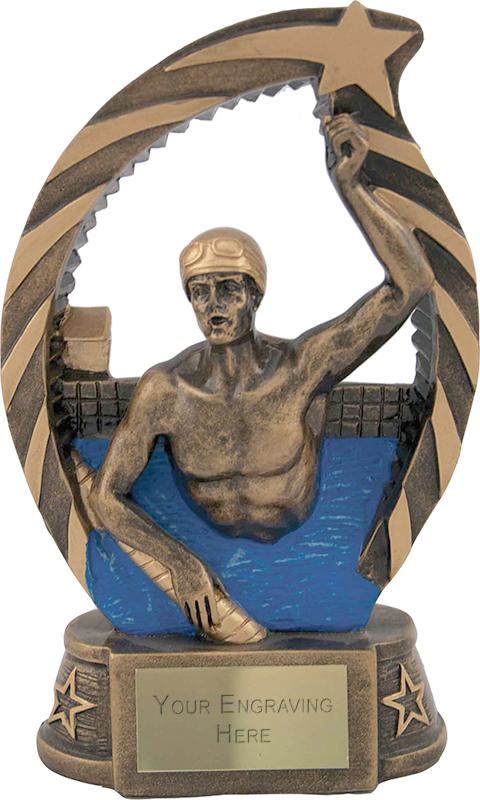 "Antique Gold Star Trim Male Swimmer Trophy 19cm (7.5"")"